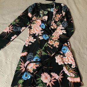 PrettyLittleThing Dresses - NWT — Black Floral Long Sleeve Wrap Dress